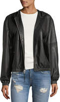 Public School Kris Hooded Zip-Front Leather Jacket