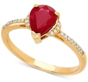 Macy's Certified Ruby (1-1/3 ct. t.w.) & Diamond Accent Ring in 14k Gold