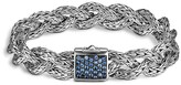 John Hardy Classic Chain Silver Small Braided Chain Silver Bracelet with Blue Sapphires