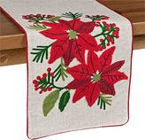 Crewel Stitch Holiday Poinsettia Table Runner