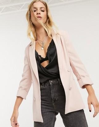 Bershka oversized blazer in light pink