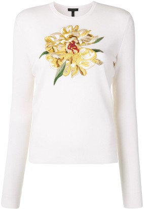 Escada Embroidered Floral Pullover
