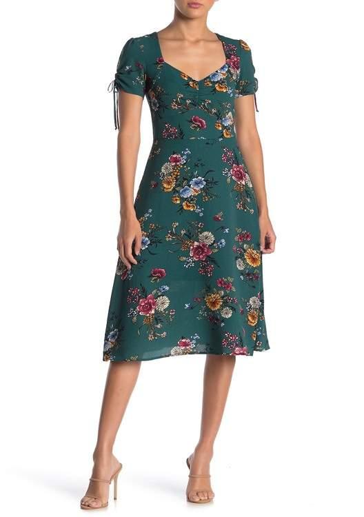 BeBop Short Sleeve Floral Printed Midi Dress