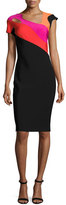 Thierry Mugler Short-Sleeve Cutout Colorblock Sheath Dress, Black/Rainbow