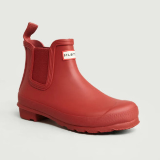 Hunter Red Rubber Chelsea Ankle Boots - 4 | rubber | red - Red/Red