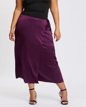 Missguided Curve Tie Side Slip Skirt