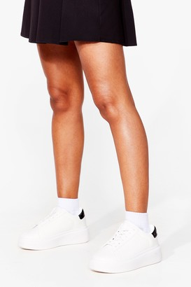 Nasty Gal Womens Watch Your Tone Faux Leather Chunky Sneakers - White