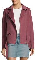 Badgley Mischka Double Face Belted Wool Motorcycle Jacket