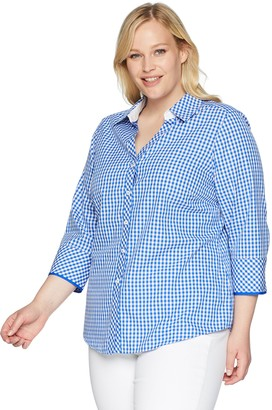 Foxcroft Women's Plus-Size Mary Gingham Non Iron Shirt