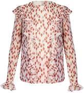 Giambattista Valli Flower-bud print ruffled silk-georgette blouse