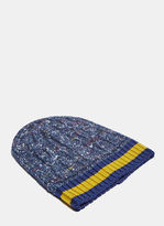Gucci Oversized Cable Knit Beanie In Navy