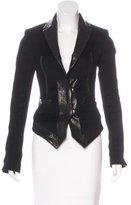 Thomas Wylde Leather-Trimmed Angora & Wool-Blend Blazer