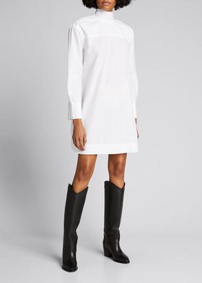 Ganni Poplin Tie-Neck Long-Sleeve Dress