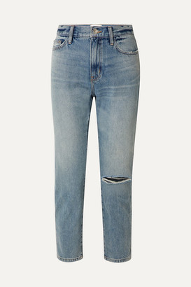 Current/Elliott The Vintage Cropped Distressed High-rise Slim-leg Jeans - Indigo