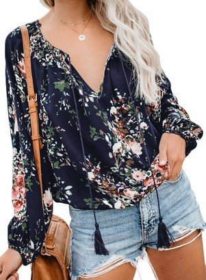 Elapsy Womens Casual V Neck Fringed Blouses Tee Shirt Fashion Chiffon Floral Tunic Tops Blue Small 6 8