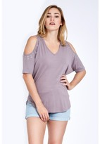 Select Fashion Fashion Double Eyelet Cold Shoulder Top Lace Tops - size 6