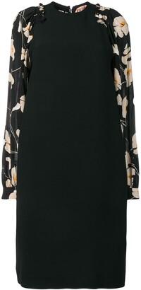 No.21 floral sleeve silk dress