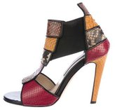 Chrissie Morris Python T-Strap Sandals