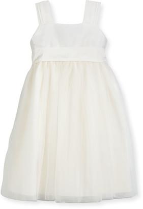 Isabel Garreton Venice Pleated Straps V-Back Dress, Ivory, Size 7-10