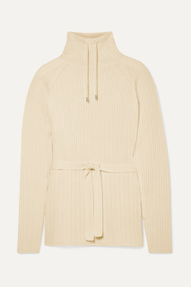 Loro Piana Ribbed Cashmere Turtleneck Sweater - Cream