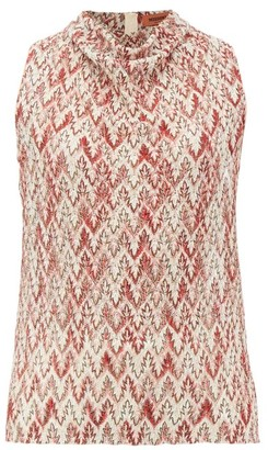 Missoni Cowl-neck Zigzag-knitted Lame Top - Womens - Red Multi