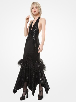 Michael Kors Sequined and Feather Embroidered Handkerchief Halter Dress