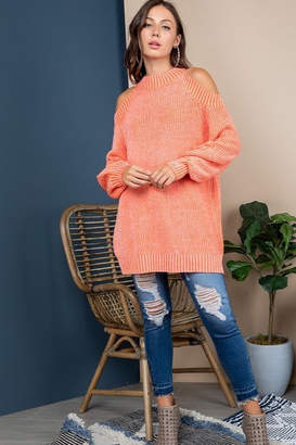 Blue B Mock Neck Cold Shoulder Sweater
