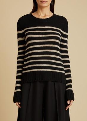 KHAITE The Tilda Sweater in Black and Powder Stripe