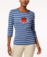 Karen Scott Cotton Striped Graphic T-Shirt, Created for Macy's