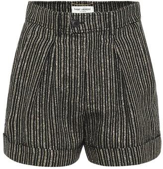 Saint Laurent High-rise striped linen-blend shorts