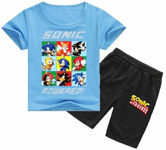 Silver Basic Boys Sonic The Hedgehog T-Shirt and Pants Set Sonic Adventure Shadow Miles Tails Prower Tshirt Sonic Pants for Boys Sonic Cosplay Pyjamas Set 130