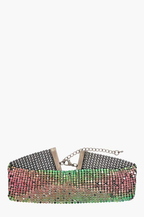 boohoo Indescent Silver Choker