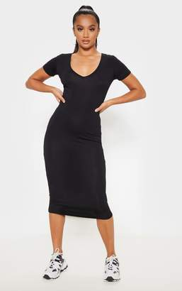 PrettyLittleThing Petite Black V Neck Midi Bodycon Dress