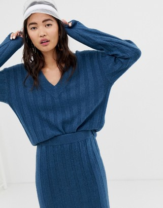 Monki v-neck ribbed sweater in blue two-piece