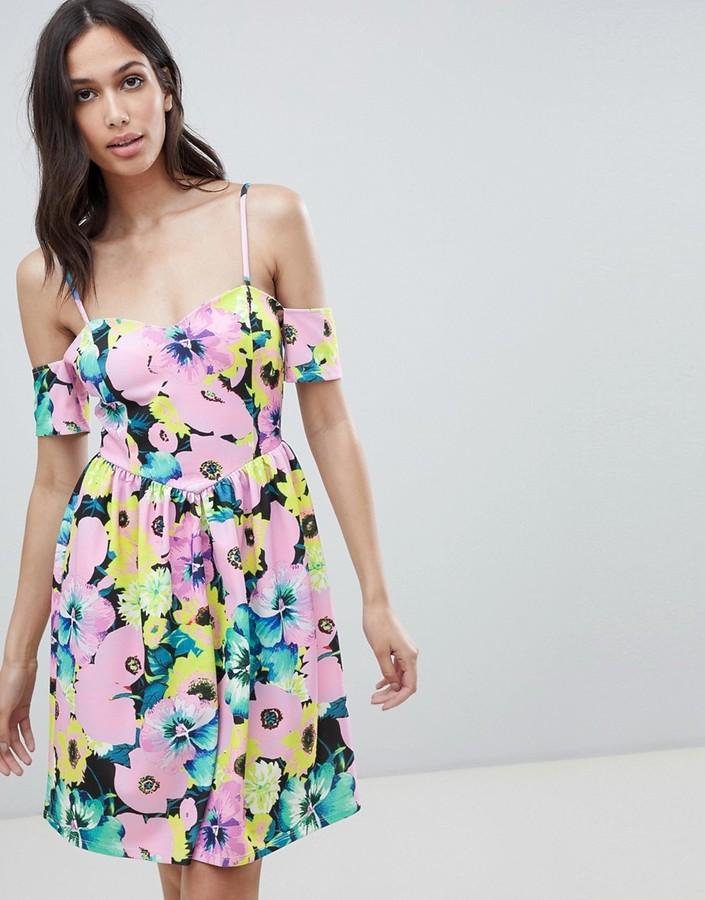 ASOS DESIGN cold shoulder floral print prom dress