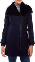 Via Spiga Faux Fur Collar Wool-Blend Coat