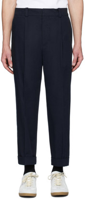Acne Studios Navy Cropped Tapered Fit Trousers