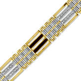 Zales Men's 1 CT. T.W. Diamond and Onyx Link Bracelet in 10K Two-Tone Gold
