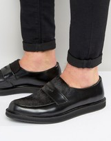 Asos Loafers In Black Leather With Faux Pony Hair Detail