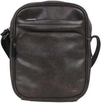 Heritage Travelware Distressed Grainy Vegan Leather Single Compartment Top Zip Crossbody / Tablet Bag
