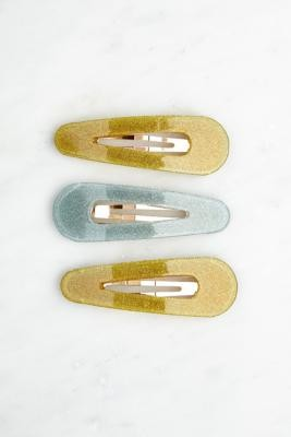 Urban Outfitters Glitter Hair Clips 3-Pack - Yellow ALL at