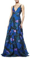 Lela Rose Sleeveless Leaf-Print Fil Coupe Gown, Lapis/Multi
