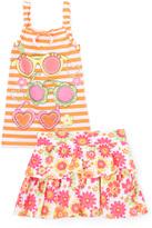 Children's Apparel Network Orange Floral & Stripe Tank & Skort Set- Toddler - Toddler