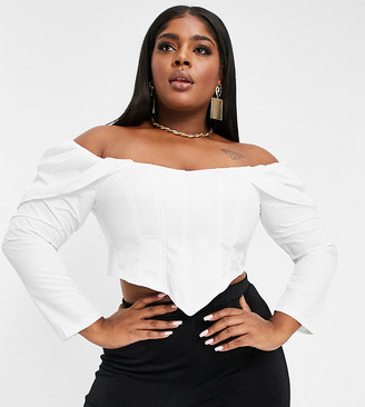 Club L London Plus off-the-shoulder corset top with volume sleeve detail in white