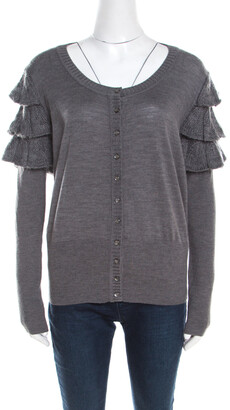 Escada Grey Wool and Mohair Ruffled Sleeve Detail Button Front Cardigan L