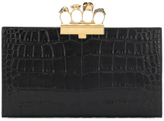 Alexander McQueen Four Ring leather clutch