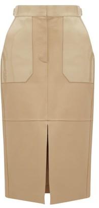 Fendi Panelled Leather Midi Skirt - Womens - Beige