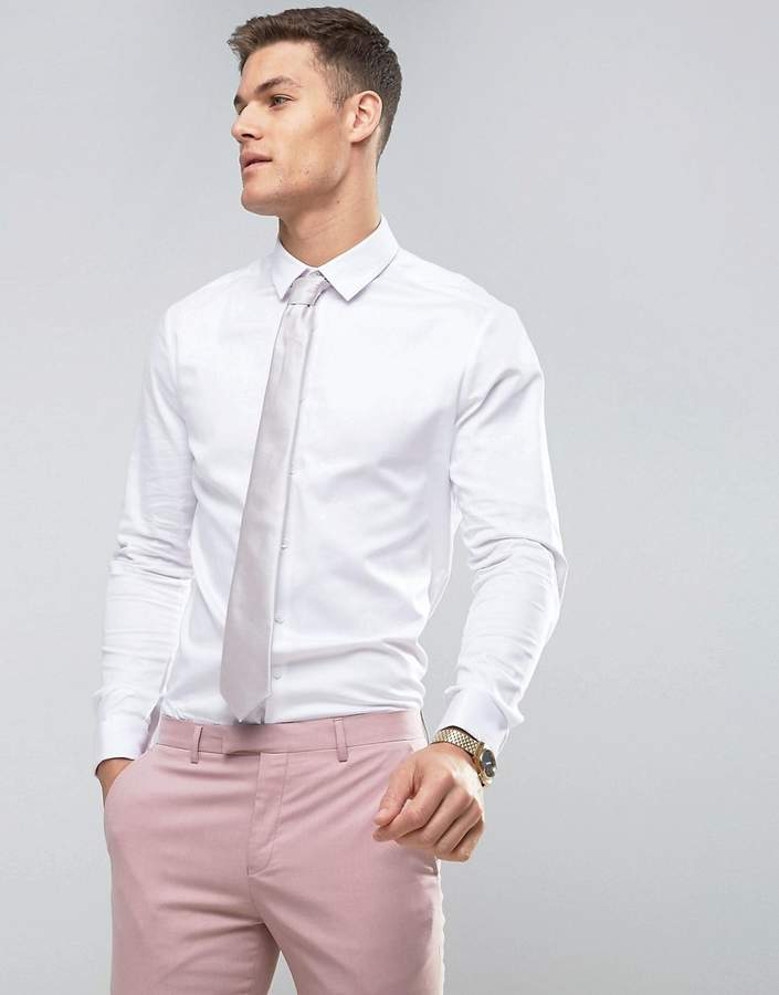 Asos Design Slim Fit Sateen Shirt With Double Cuff