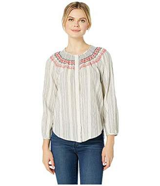 Lucky Brand Women's Smocked Peasant Shirt