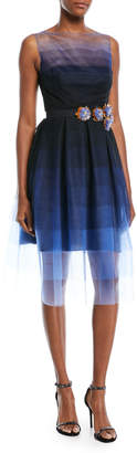 Talbot Runhof Poemas Sleeveless Embellished-Belt Dégradé Tulle Cocktail Dress